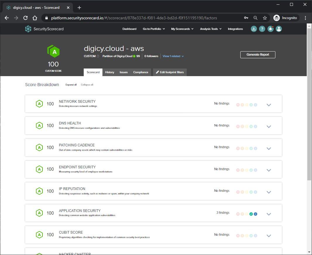Screenshot SecurityScorecard Custom Scorecard
